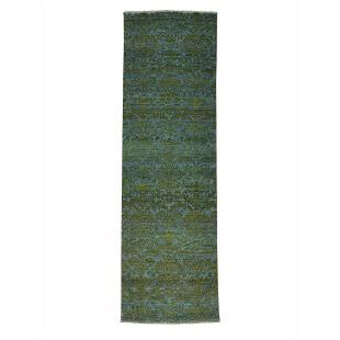 Wool and Silk Tone on Tone Damask Runner Handmade