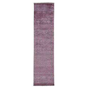 Wool and Silk Damask Runner Tone on Tone Hand Knotted