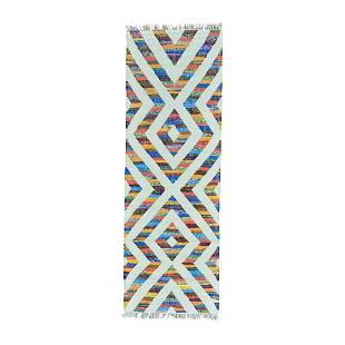 Runner Cotton and Sari Silk Flat Weave Kilim Hand Woven