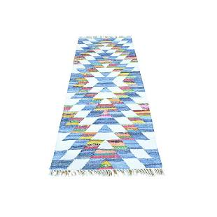Flat Weave Kilim Runner Cotton and Sari Silk Oriental