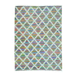 Cotton and Sari Silk Colorful Kilim Hand Woven Oriental