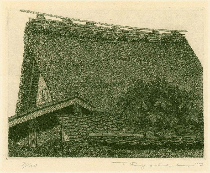 Ryohei Tanaka Japanese Etching - Thatched Roof No. 15 -