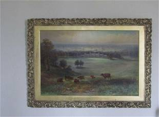 19th century oil country house landscape scene by