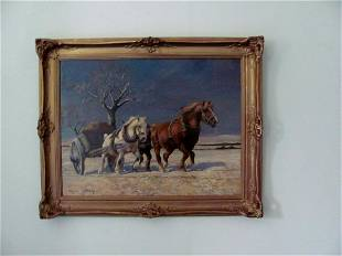 winter Landscape with horses drawing a cart Wilhelm