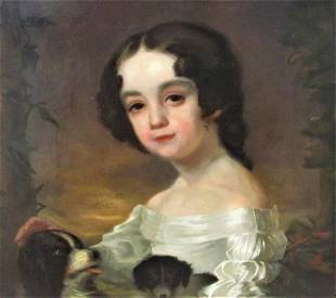 Portrait of a girl two dogs 19th century After Sir