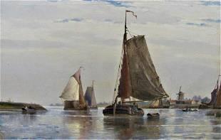 19th century seascape oil Near Dortrecht Holland