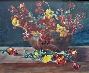 vase of still life flowerswallfl owers by Owen