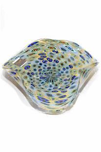Murano glass plate with murrine signed