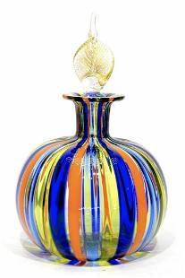 Murano glass bottle with canne