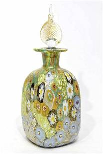 Murano glass bottle with murrine and gold leaf