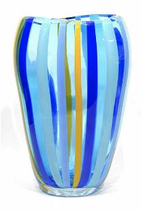 Murano glass Sommerso vase with vertical rods