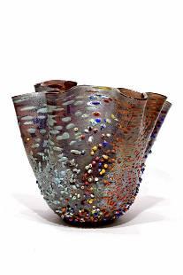 Murano glass relief murrine vase fazzoletto