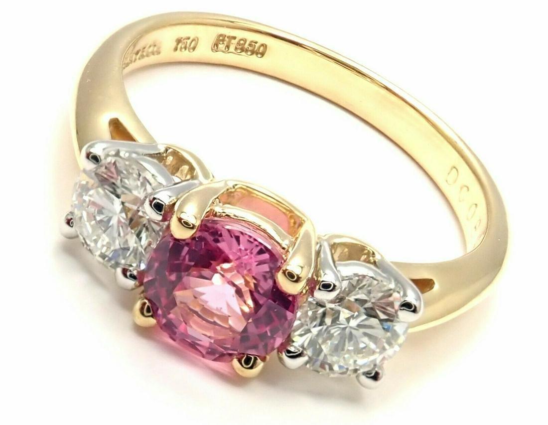 Tiffany & Co 18k Gold Platinum Three Stone Diamond Pink