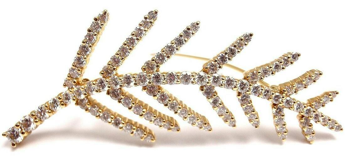TIFFANY & CO 18K YELLOW GOLD DIAMOND LEAF PIN BROOCH