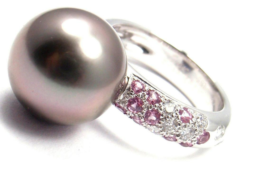 Cartier 18k White Gold Tahitian Pearl Diamond Pink