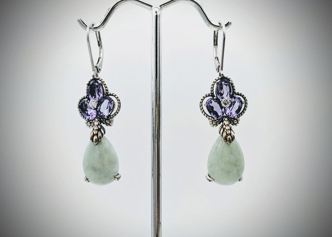 925 SS Cocktail Earrings w Jade, Amethyst & CZs