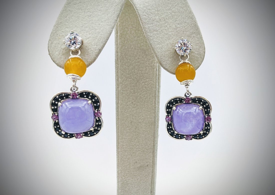 Double Drop Stud Earrings w Yellow Jadeite, Violet