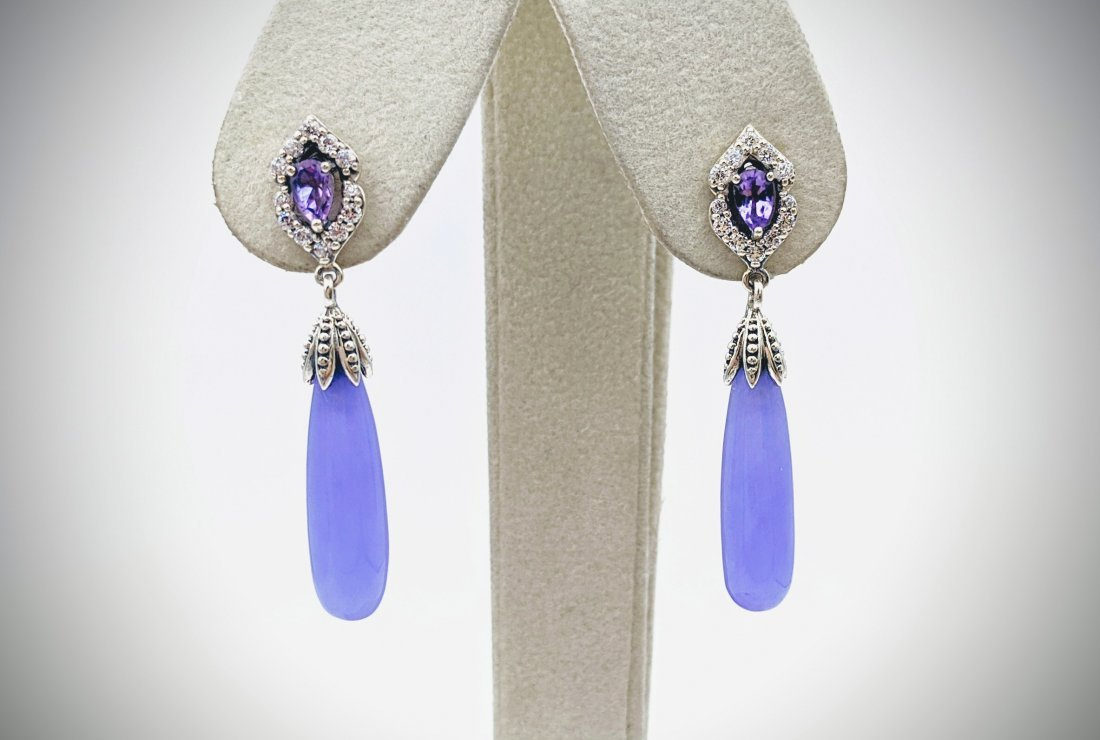 Sterling Silver Amethyst & CZ Earrings w Dangly Violet