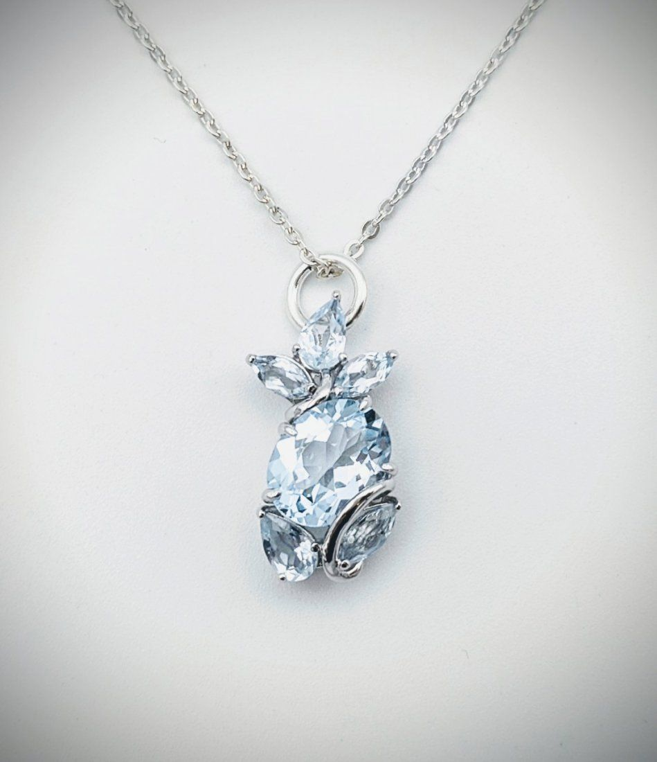 Sterling Silver Necklace w Clustered Sky Blue Topaz