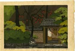 Masao Ido: Persimmon at Temple Gate 1974 Woodblock