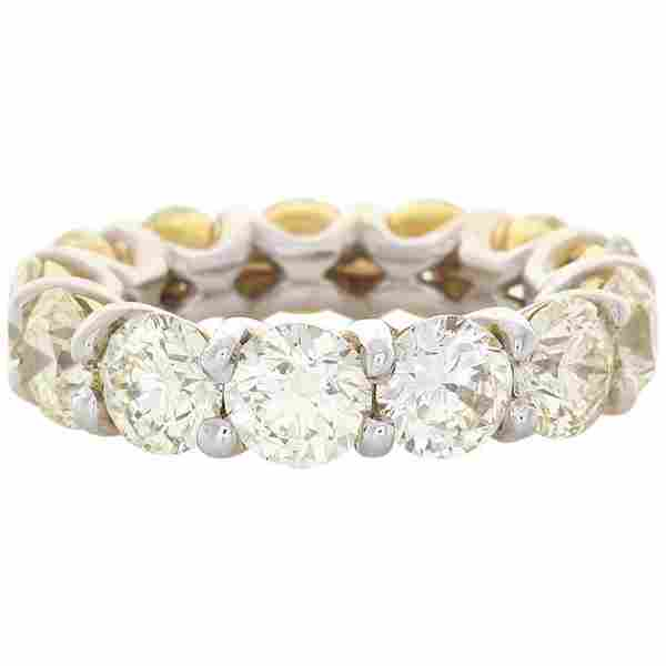 9.00 Carat Total Fancy Yellow Diamond Two-Tone Eternity