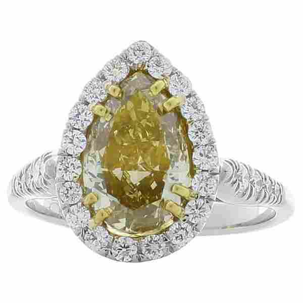 GIA Certified 2.50 Carat Pear Shape Fancy Yellow