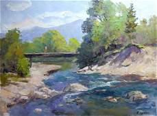 Oil painting Bridge over a mountain river Serdyuk Boris