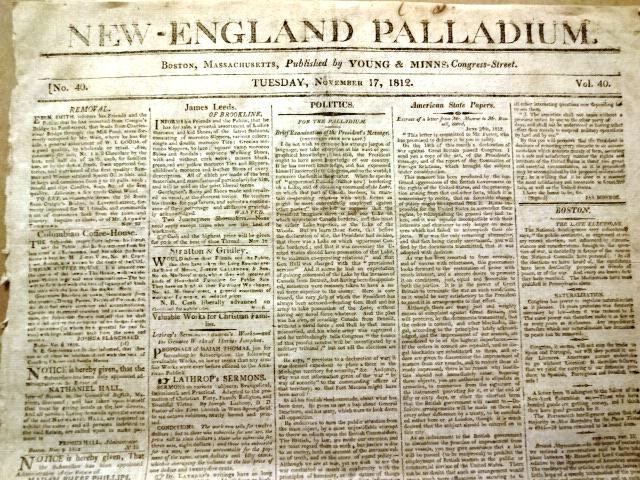 1812 Newpaper New-England Palladium