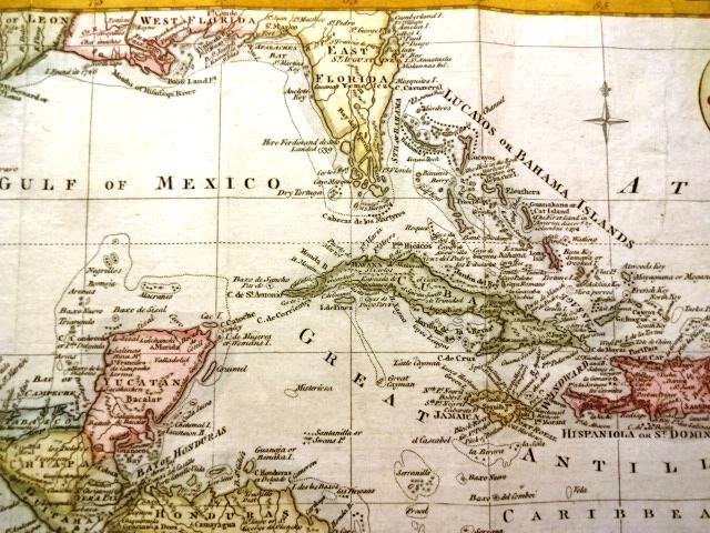1778 Handcolored Map West Indies Gulf of Mexico