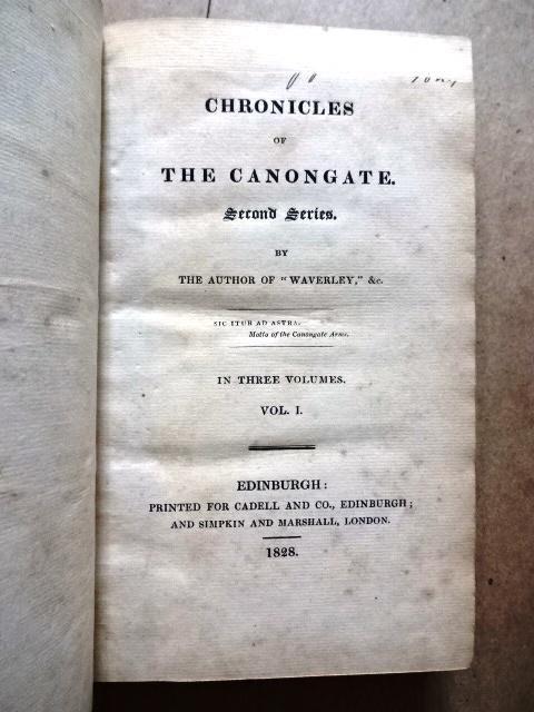 1828 Three-Vol Set Chronicles of Canongate