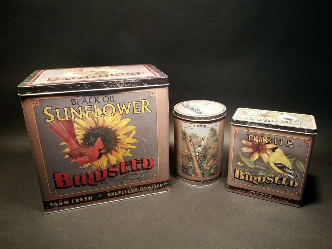 Set of 3 Advertising Tin Box Sunflower Bird Seed