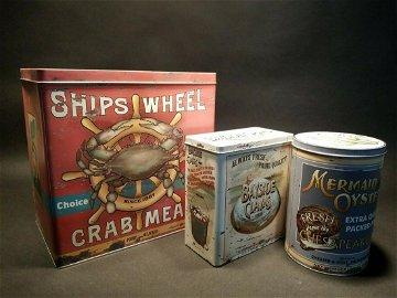 Set of 3 Advertising Tin Box Nautical Mermaid Oyster