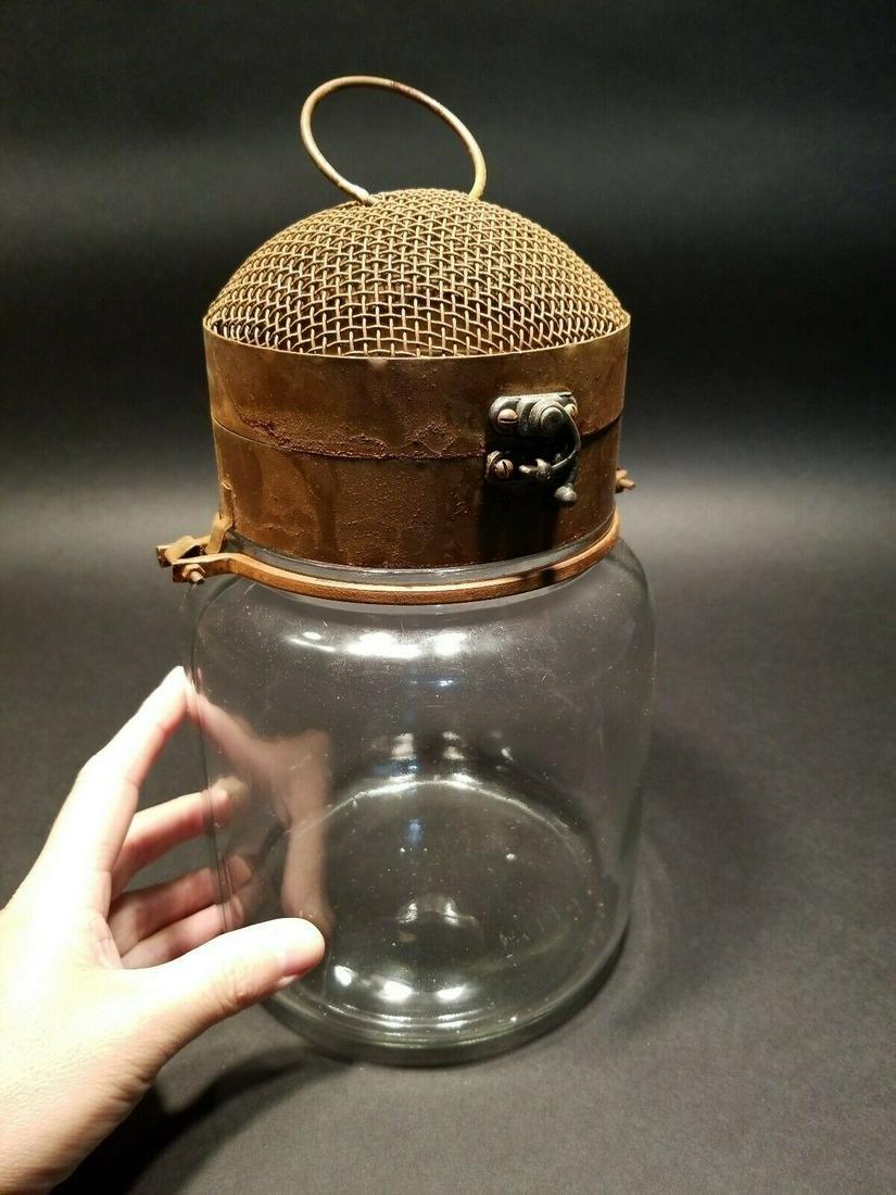 Iron & Glass Firefly Lightning Bug Jar Cage trap