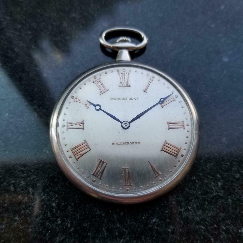 TIFFANY & CO Rare Platinum 14736 Pocket Watch 45mm,