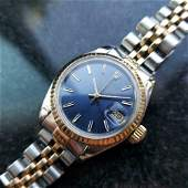 ROLEX Ladies 18k Gold  ss Oyster Date Blue Dial