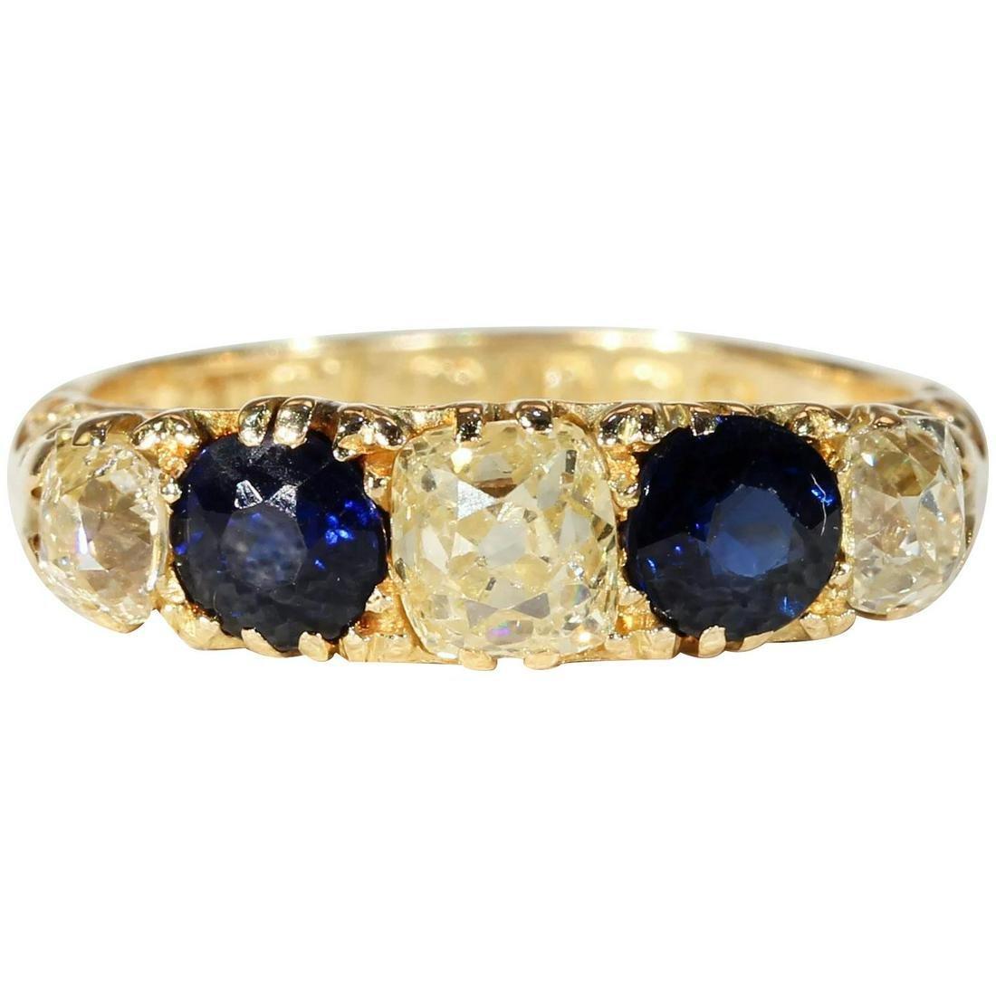 Antique Edwardian Diamond Sapphire Ring Hallmarked 1912