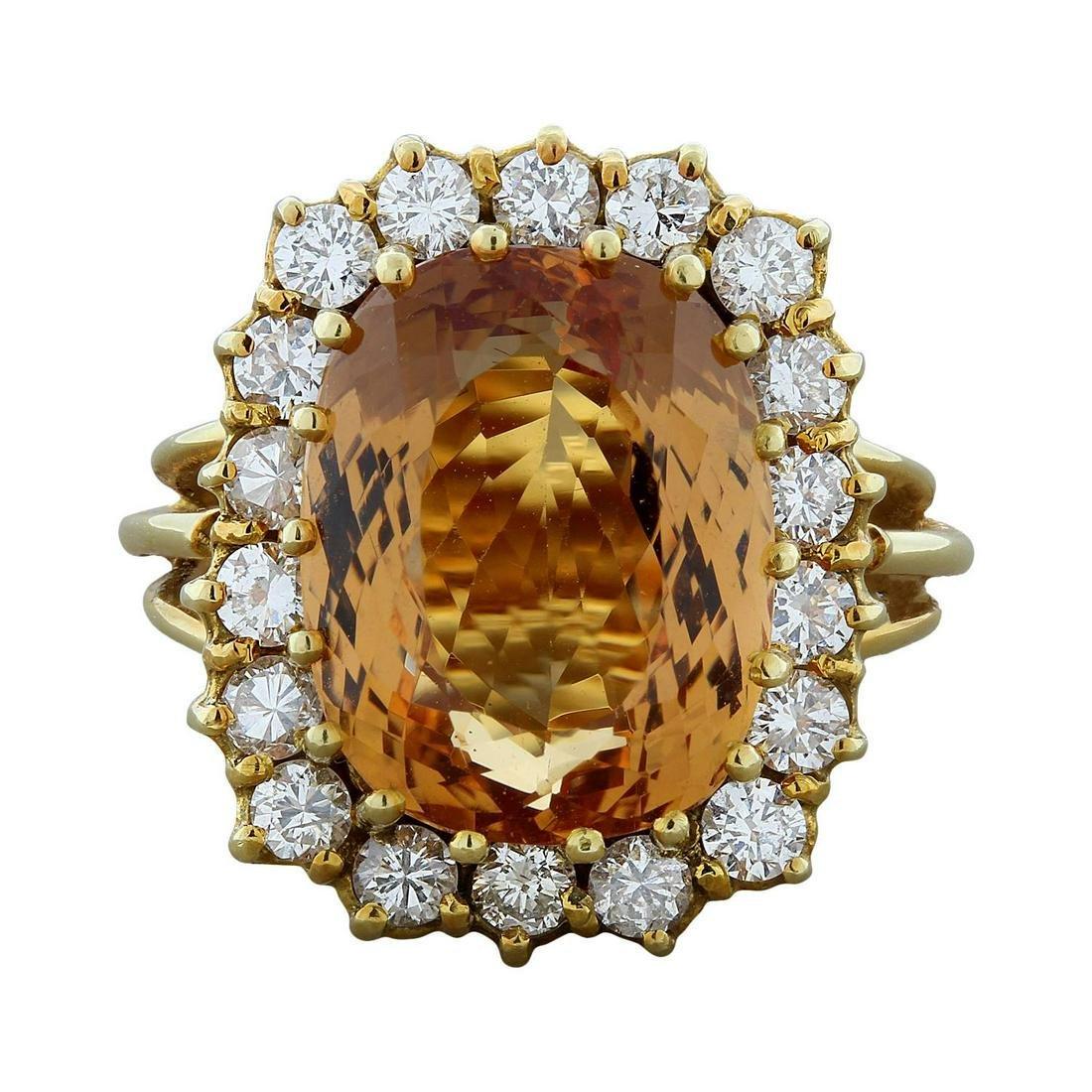 Estate Imperial Topaz Diamond Gold Ring