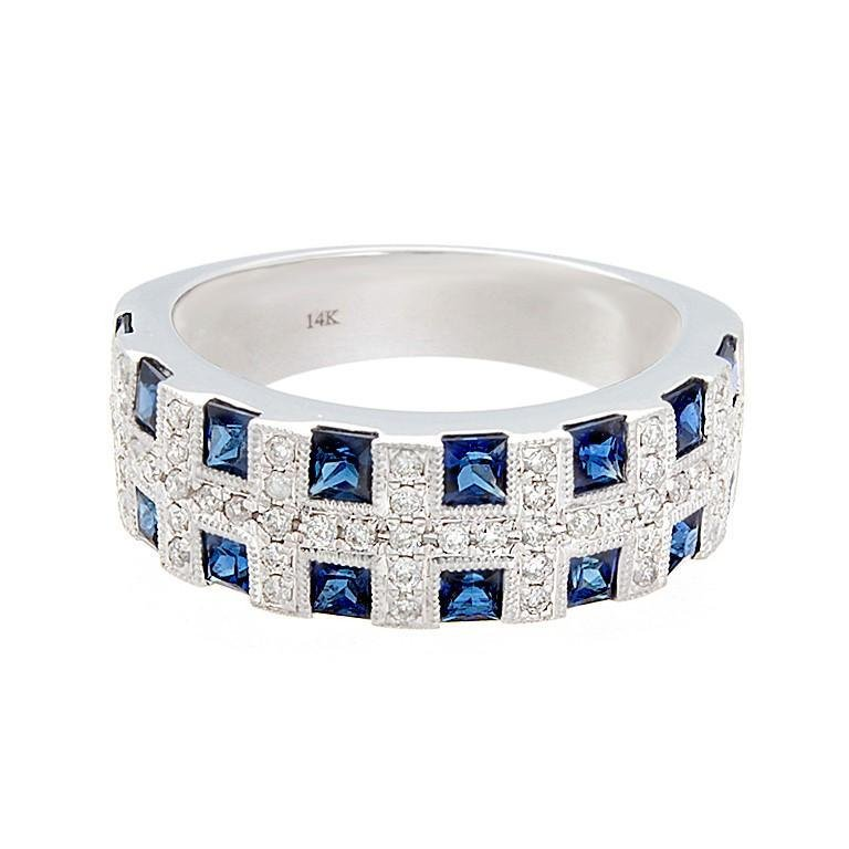 Blue Sapphire Diamond Gold Band Ring