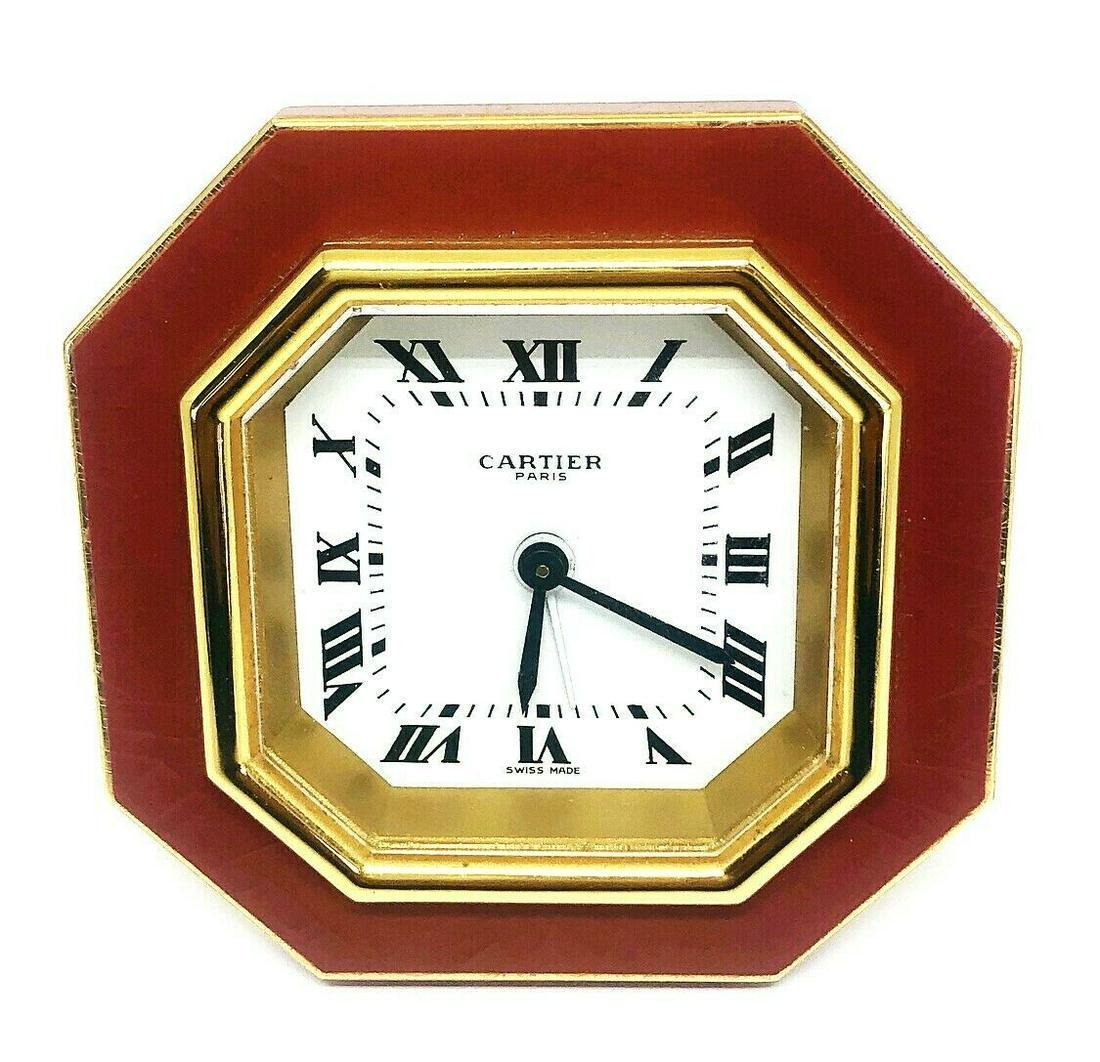 Vintage Cartier Gold Enamel Desk Clock Collectable