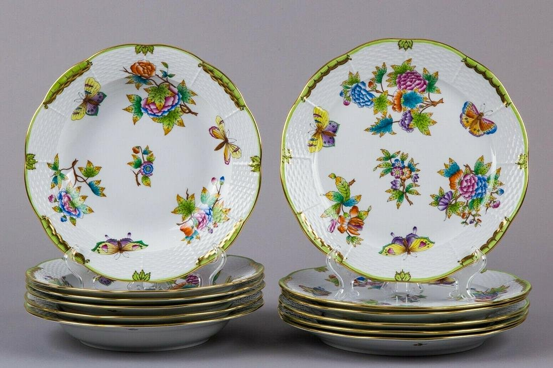 Brand New Herend Queen Victoria Plate Set for Six