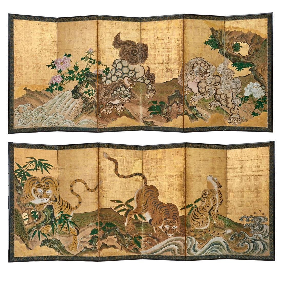 Rare set of 2 six panel byobu screens