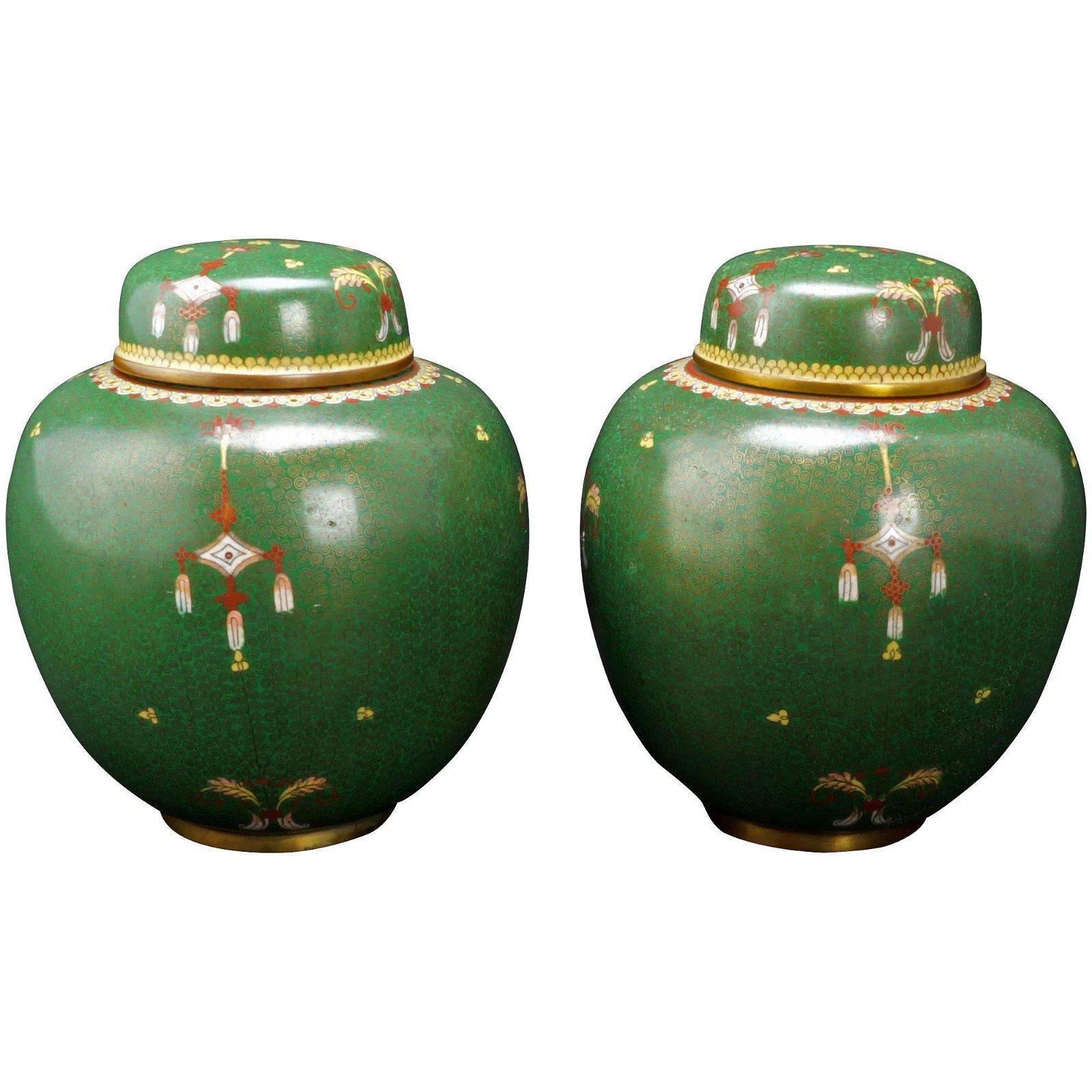 Pair Chinese Qing Green Cloisonné Lidded Jars
