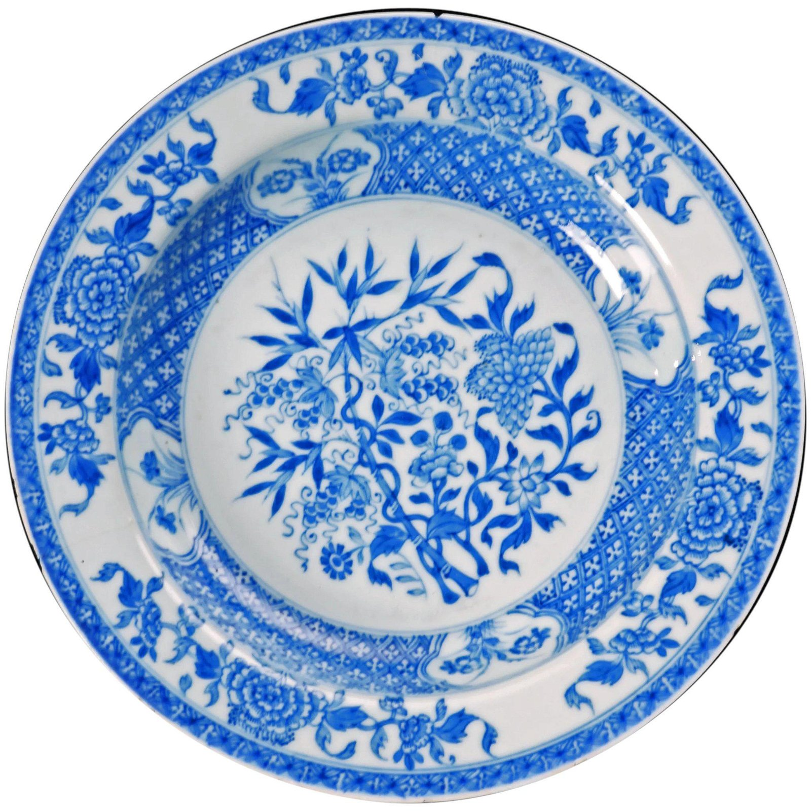 Chinese Export Blue White Shallow Bowl 18th C
