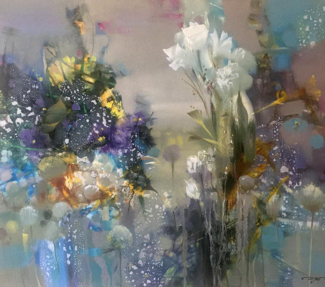Abstract oil painting Flowers Anatoly Borisovich