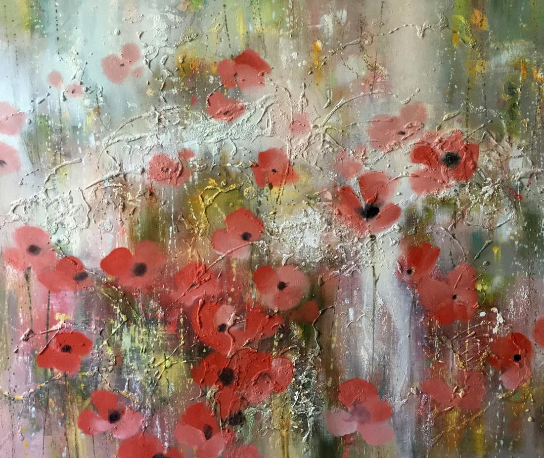 Abstract oil painnting Poppy field Anatoly Borisovich