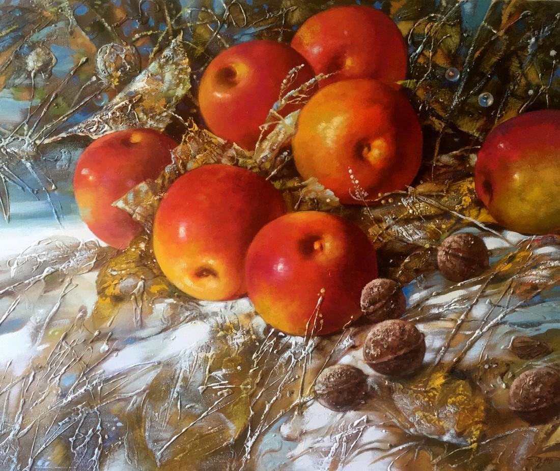 Abstract oil painting Autumn apples Anatoly Borisovich