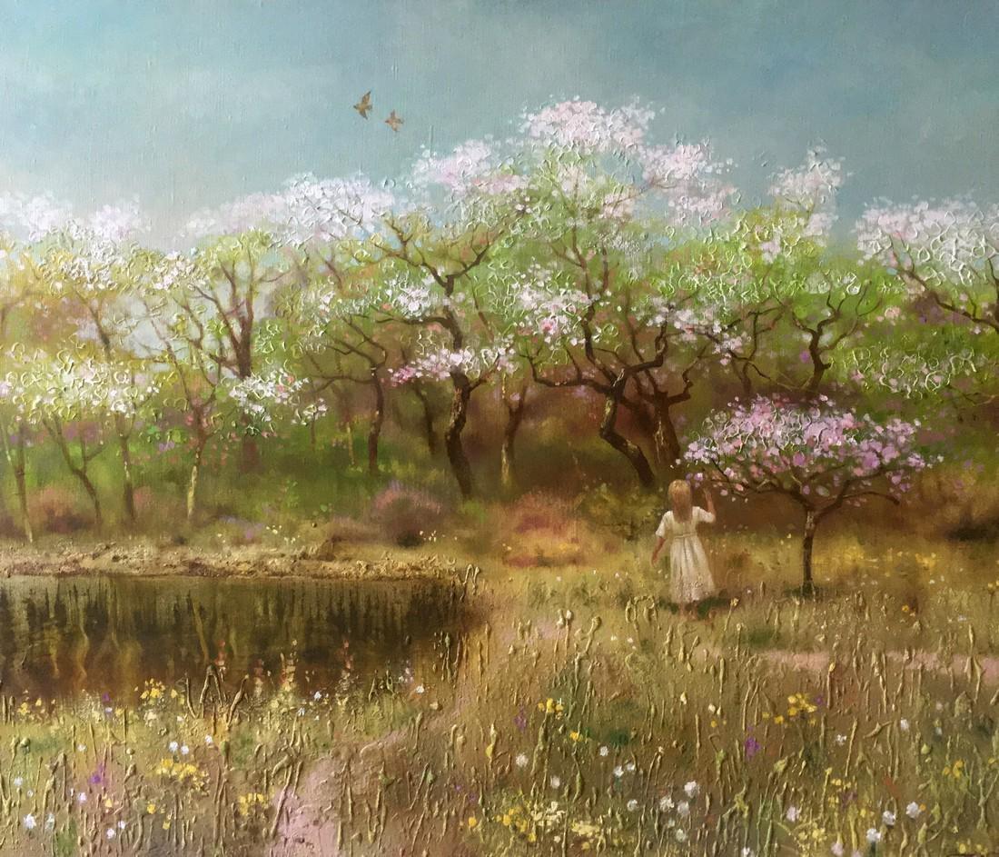 Oil painting Spring gardens Anatoly Borisovich