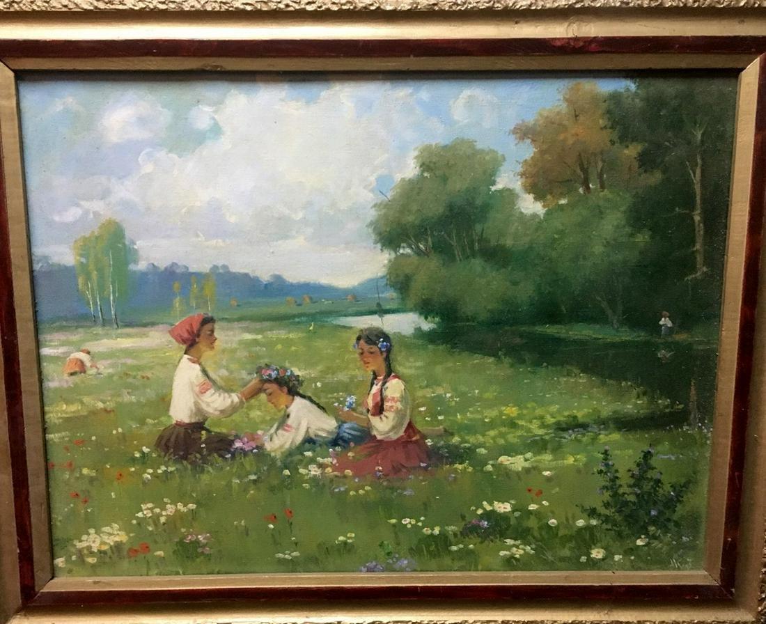 Oil painting Rest in the meadow K?zenko Nestor