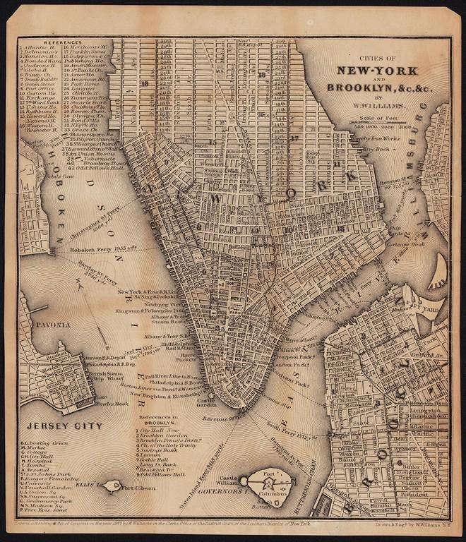 Scarce NYC & Brooklyn by W. Williams, 1847