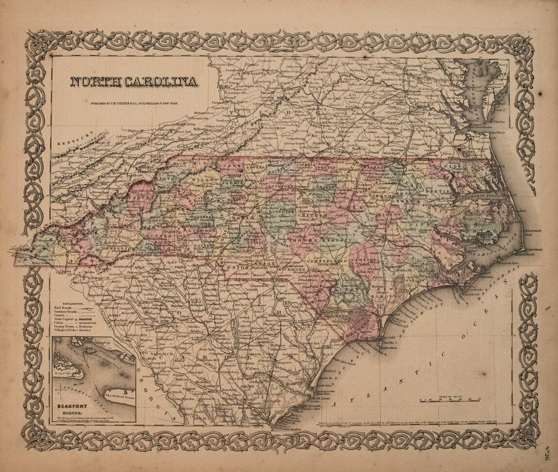 1855 Colton Map of North Carolina -- North Carolina